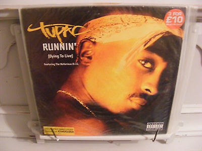 "Tupac 12"" single Runnin' (Dying To Live) Notorious B.I.G. Eminem EX/EX"