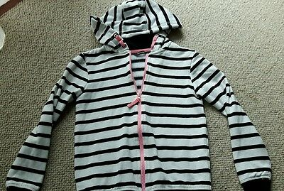 Girls Hoody George Size 9-10 years Hooded Zip Up Jacket Black and White Stripped