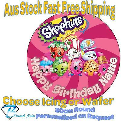 20cm Round Shopkins Edible Image Icing or Wafer Cake Topper Kids Birthday v1