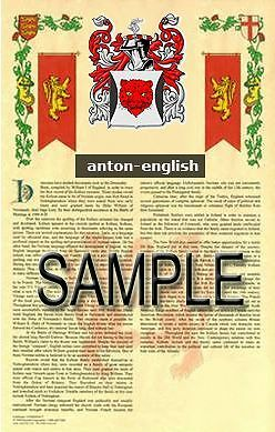ANTON Armorial Name History - Coat of Arms - Family Crest GIFT! 11x17