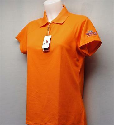 New Ladies Antigua Desert Dry Xtra Lite polyester black golf shirt Medium Orange