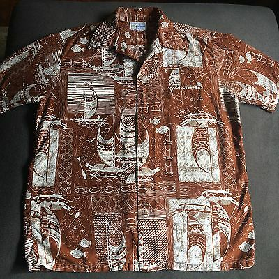 Men's Vintage Andrade Honolulu Cotton Hawaiian Shirt Sz XL Surfer