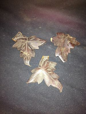 "3 Carved Wood 4"" Leaf Pediments"