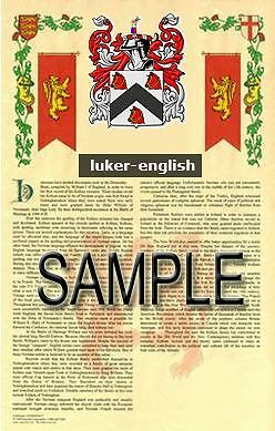LUKER Armorial Name History - Coat of Arms - Family Crest GIFT! 11x17