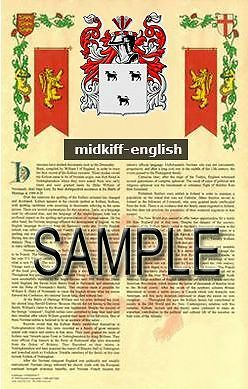MIDKIFF Armorial Name History - Coat of Arms - Family Crest GIFT! 11x17