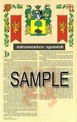 MIRAMONTES Armorial Name History - Coat of Arms - Family Crest GIFT! 11x17
