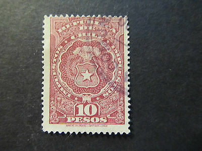 Chile - Tax Stamp - Coat Of Arms - 10 Pesos (13)