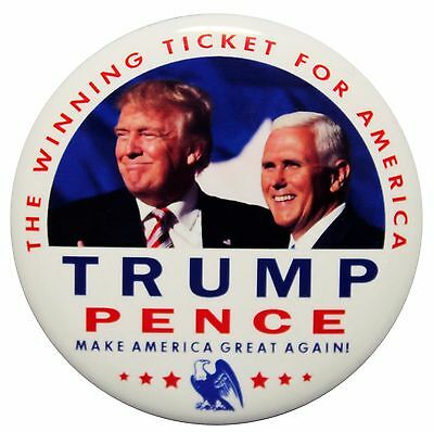 2016 Trump - Pence Campaign Pin Back Button 'the Winning Ticket For America""