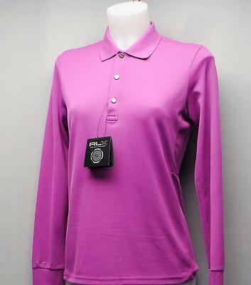 New Ladies SMALL Ralph Lauren RLX Magenta long sleeve polyester golf polo shirt