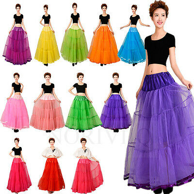 Long Petticoat Rockabilly Fancy Net tutu Slips WomenDancer Underskirt Crinoline