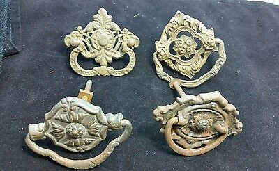 """Assortment of 4 antique ornate brass and metal handles 2-2 1/2"""" #Z6"""