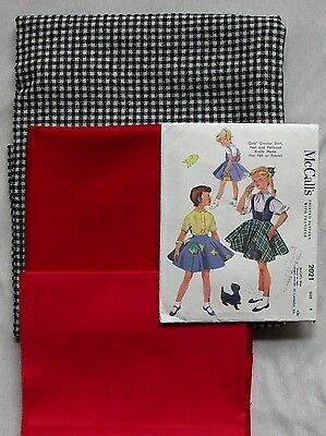 McCALLS  #2021 GIRLS SIZE 8 - 1955 SEWING PATTERN WITH VINTAGE WOOL FABRICS NEW