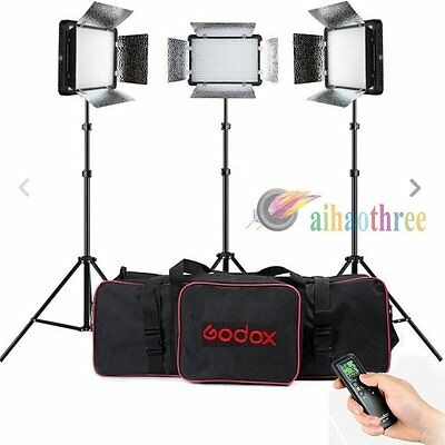 3Pcs Godox LED308II Changeable Version 3300K-5600K LED Studio Light Kit + Remote