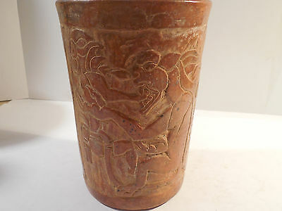 Amazing Mayan Jaguar Dragon Cylinder Pre-Columbian Ancient Artifact Olmec Toltec