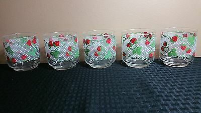 "Vintage Set of 5 Strawberry Themed Drinking Glasses Tumblers 3"" Tall"