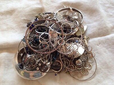 Silver Tone Jewelry 1 LB LOT: Necklaces, Earrings, Etc. Craft Repurpose #45