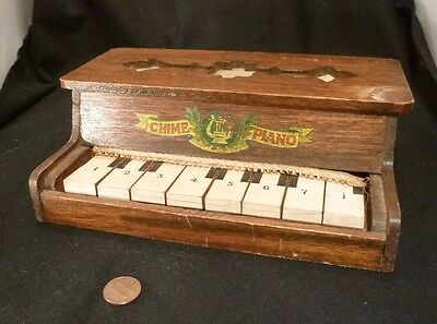 Antique Edwardian TOY CHIME PIANO Wood WORKS! Mahogany All Original Childs