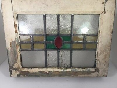 OLD LEADED STAINED GLASS WINDOW WITH ORIGINAL WOOD FRAME 19x14