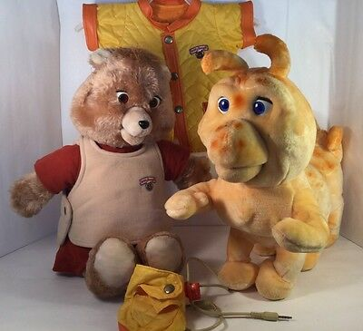 1984/5 Vintage Teddy Ruxpin with Grubby Outfit And Cord