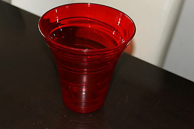 Art Glass Vase Crystal Retro Funky Red Aaa