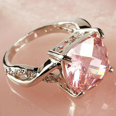 NEW Women Girls Silver Plated Pink Zircon Crystal Rhinestones Ring Jewelry Rings