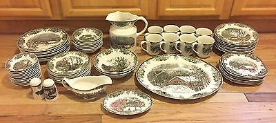 68 Piece Johnson Brothers The Friendly Village Ironstone China Set