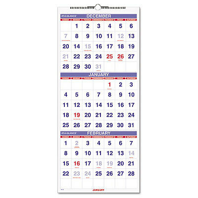 AT-A-GLANCE Vertical-Format Three-Month Reference Wall Calendar, 12 1/4 x 27...