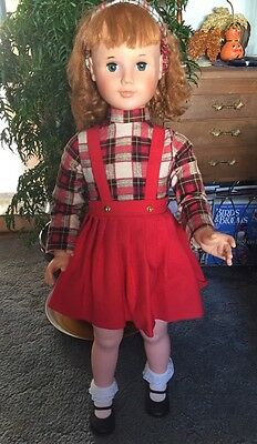 """36"""" Doll Marked Eegee 7  1966   3G-S-2. Dressed In Plaid/ Courderoy PlayPal"""