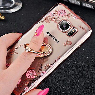 OU Ultra-thin flower Clear Case Cover With Bling Metal Ring Stand for Samsung