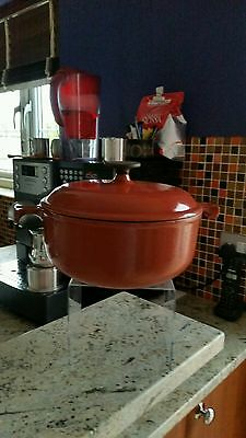 Le Creuset Enzo Mari Red Brown Casserole CAST IRON OVEN Dish Size 20