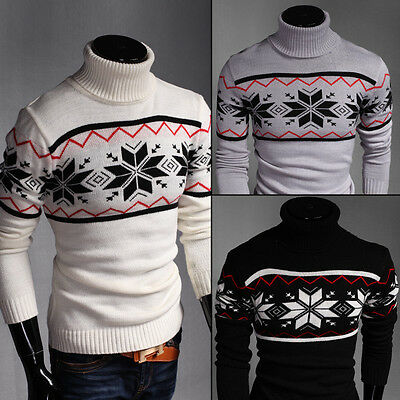 2017 Men Turtleneck Sweaters Pullover Casual Slim Fit Knitting Tops Jumpers Warm