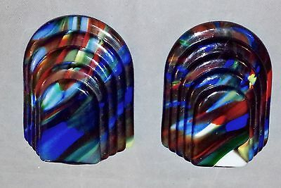 STYLISH MISSONI  PAIR SCULPTED 70s WALL LIGHTS/SCONCES-VENINI  MAZZEGA, MURANO