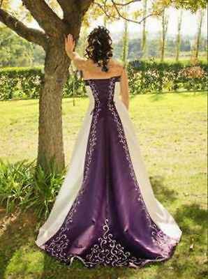 Purple/White Wedding Dress Evening Formal Bridal Prom Party Gown Custom all Size