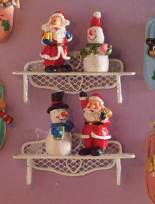 Festive Christmas Figurines 4 Pack, Doll House Miniatures, Xmas Figures, 1.12th