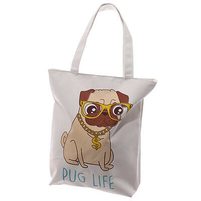 Puckator Pug Life Cotton Tote Shopping Shoulder Bag Zip Fastening Reusable New