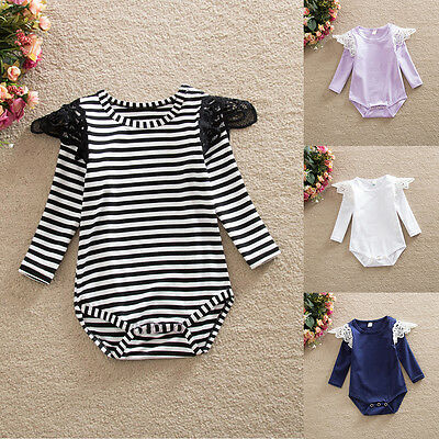 Lace Striped Girls Long Sleeve Rompers Newborn Baby Clothes Jumpsuit Bodysuits
