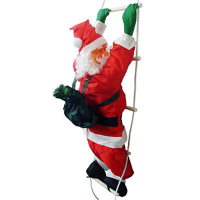 90cm Christmas Party Santa Claus Climbing A Rope Ladder Hanging Decoration
