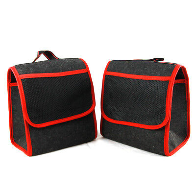 2x Car Care Protection Tidy Organiser Red Trim Storage Boot Bags with Pockets