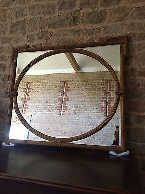 Ornate French Antique Large Wall over mantle Mirror. Gilt, Gold, bevelled gla