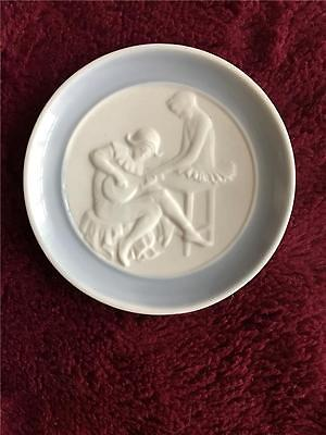 """Miniature 3"""" Blue And White Plate Lladro + Cert Franklin Mint"""
