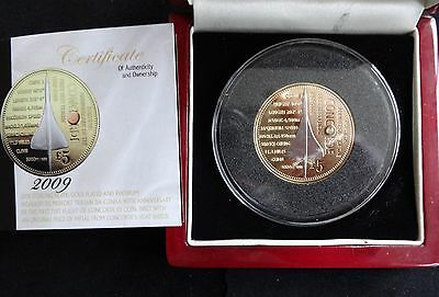 2009 Silver Proof Gold Plated Tdc Piedfort £5 Coin Box + Coa Concorde 1/499