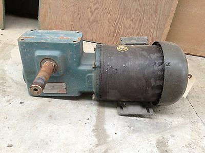 Dodge Tigear Worm Gear Gearbox Speed Reducer 18:1 w/ 1/2HP 1750RPM Motor