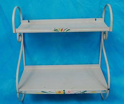 French Country Metal Shelf With Hand Painted Accents