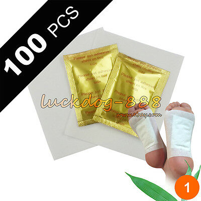 100 PCS Gold Premium Detox Foot Pads Organic Herbal Cleanse Patches 100 Adhesive