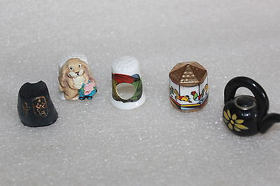 Five Assorted Novelty Collectors Thimbles Bone China & Pewter