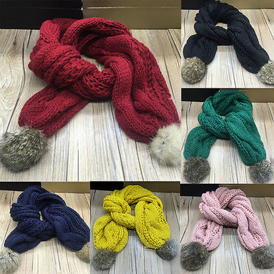 Child Kids Baby Boy Girl Knit Long Scarf Winter Warm Fur Pom Warp Neckerchief UK