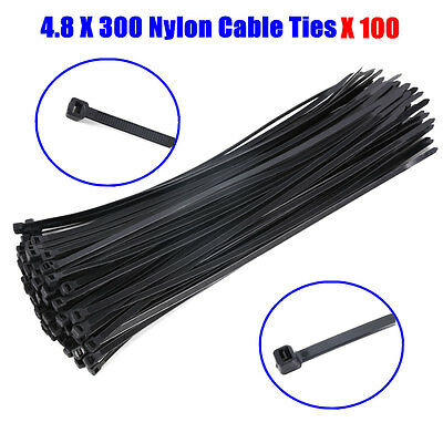 100PCS Black Electrical Nylon Cable Tie Ties 4.8 x 300 mm UV Stabilised 50015