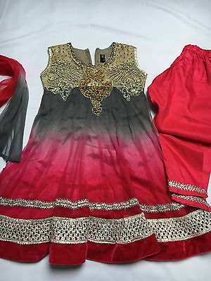 Girls Anarkali Dress Indian Outfit Size 4 Years Used Grey And Pink