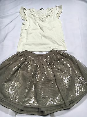 Girls Sequin Mini Skirt And Top Size 4-5 Years Grey And White Used Outfit