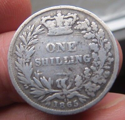 1865 Queen Victoria  Silver Shilling Die No.11 Buckled in middle a bit